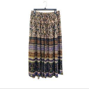 Earthbound Trading Co Boho Patterned Maxi Skirt M